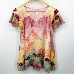 Sundance 100% Silk Boho Embroidered Flowy Blouse
